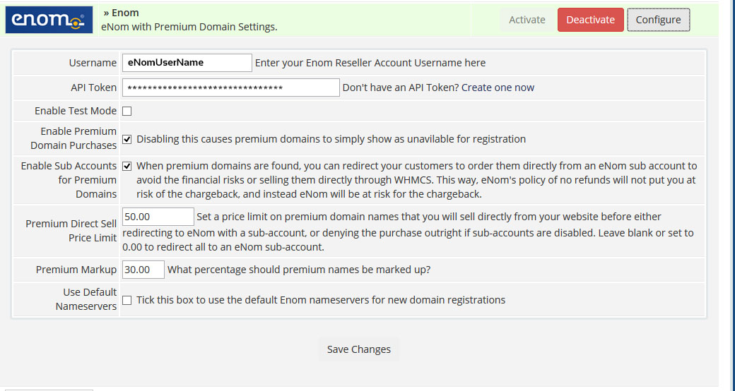 WHMCS eNom Premium Domain Configuration Options